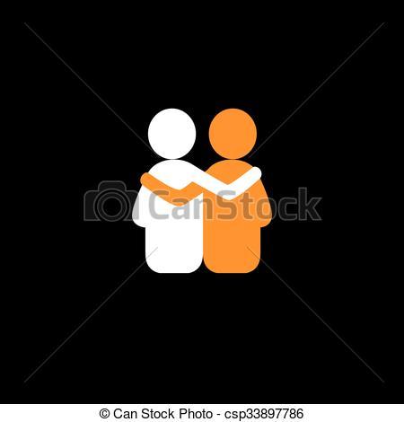 Clip Art Vector of friends hug each other, deep relationship.
