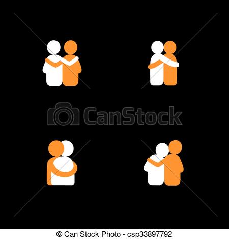 Vector Clipart of set of logo designs of friends hugging each.