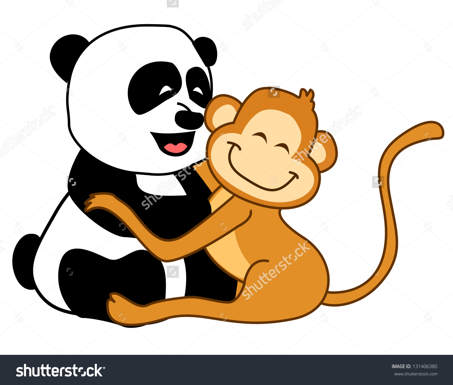 Little Best Friends Panda Bear Monkey Stock Illustration 131406380.