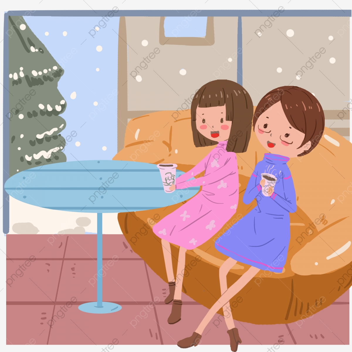 Cold Winter Winter Drinking Steaming Coffee Talking And Laughing.
