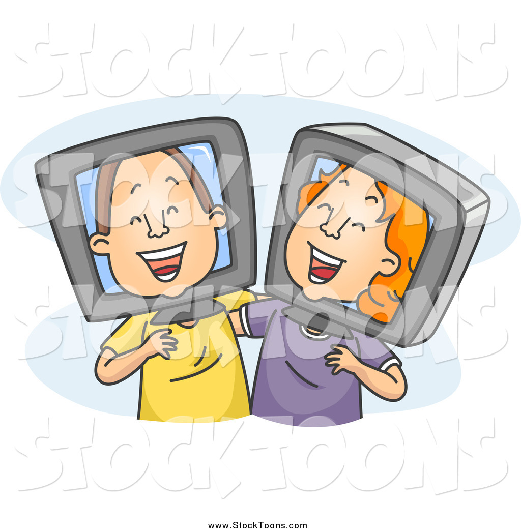 Stock Cartoon of Old Internet Friends Laughing Together by BNP.