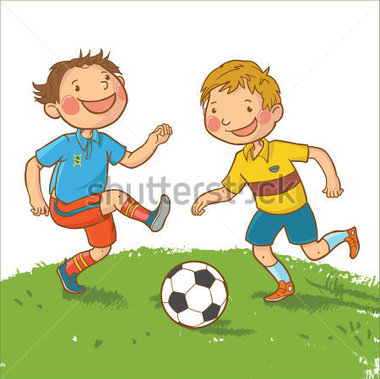 Playing Soccer With Friends Cartoon.