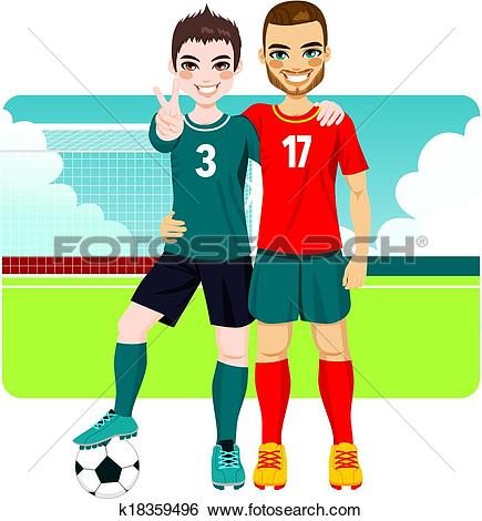 Clip Art of Soccer Friends And Rivals k18359496.