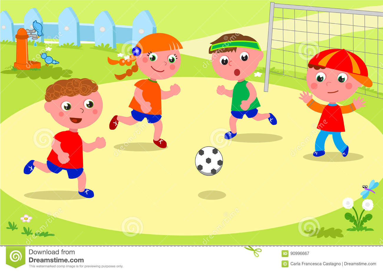 Showing post & media for Cartoon playing soccer with friends.