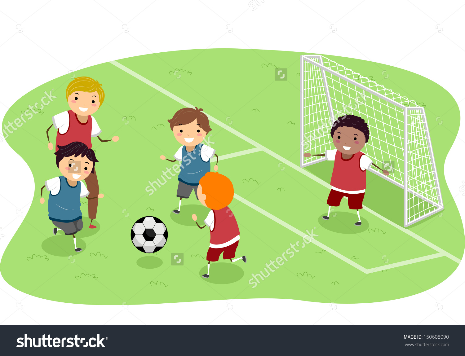 Friends Playing Soccer Clipart.