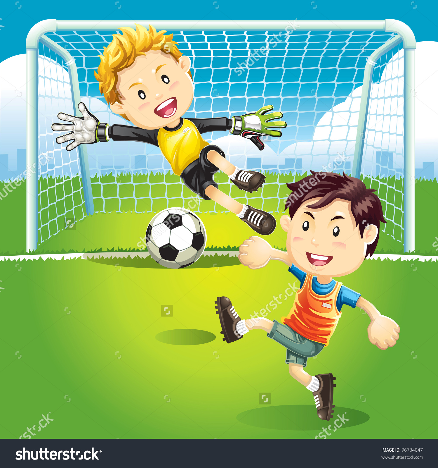 Playing Soccer With Friends Clipart.