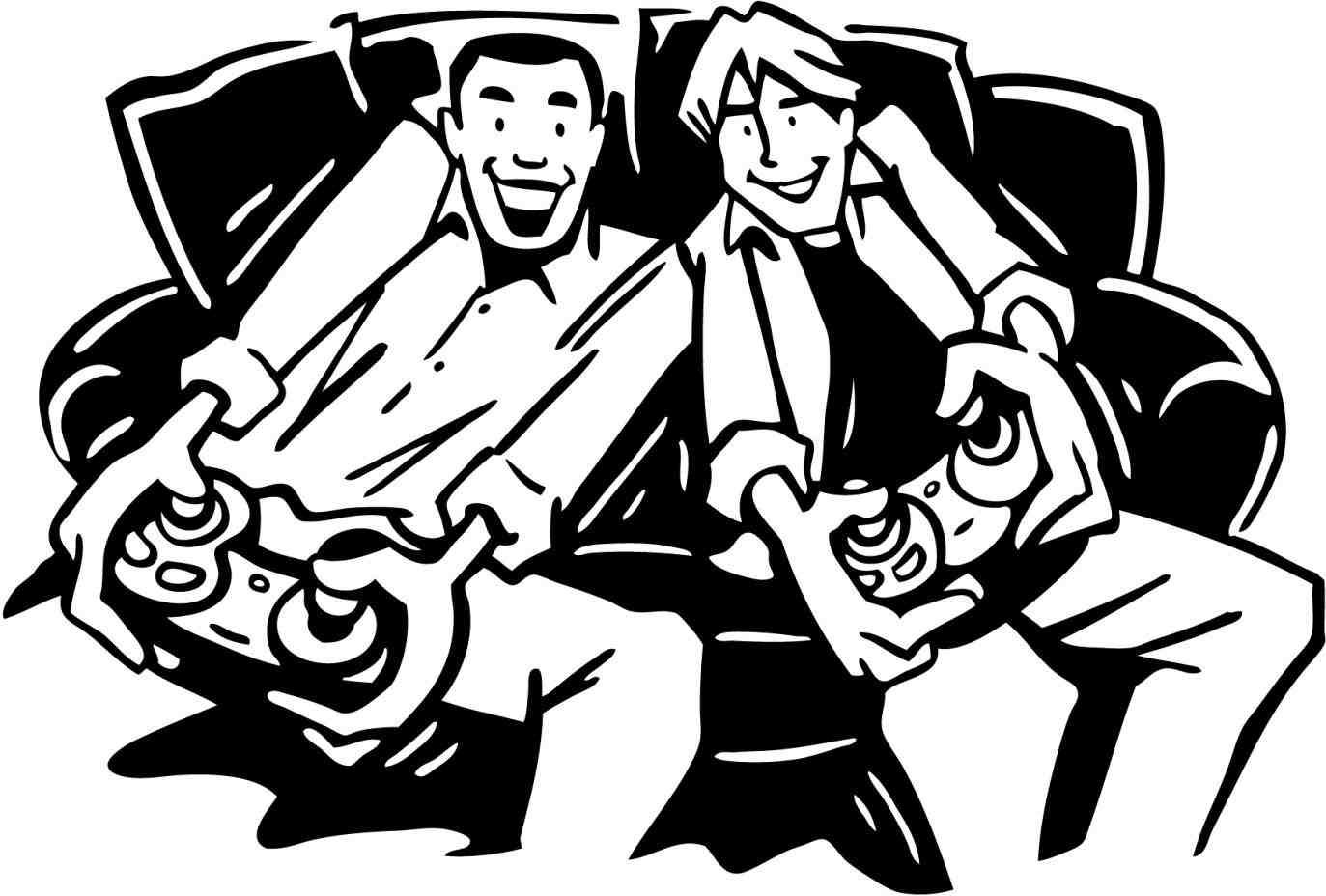 New Post people playing video games clipart.