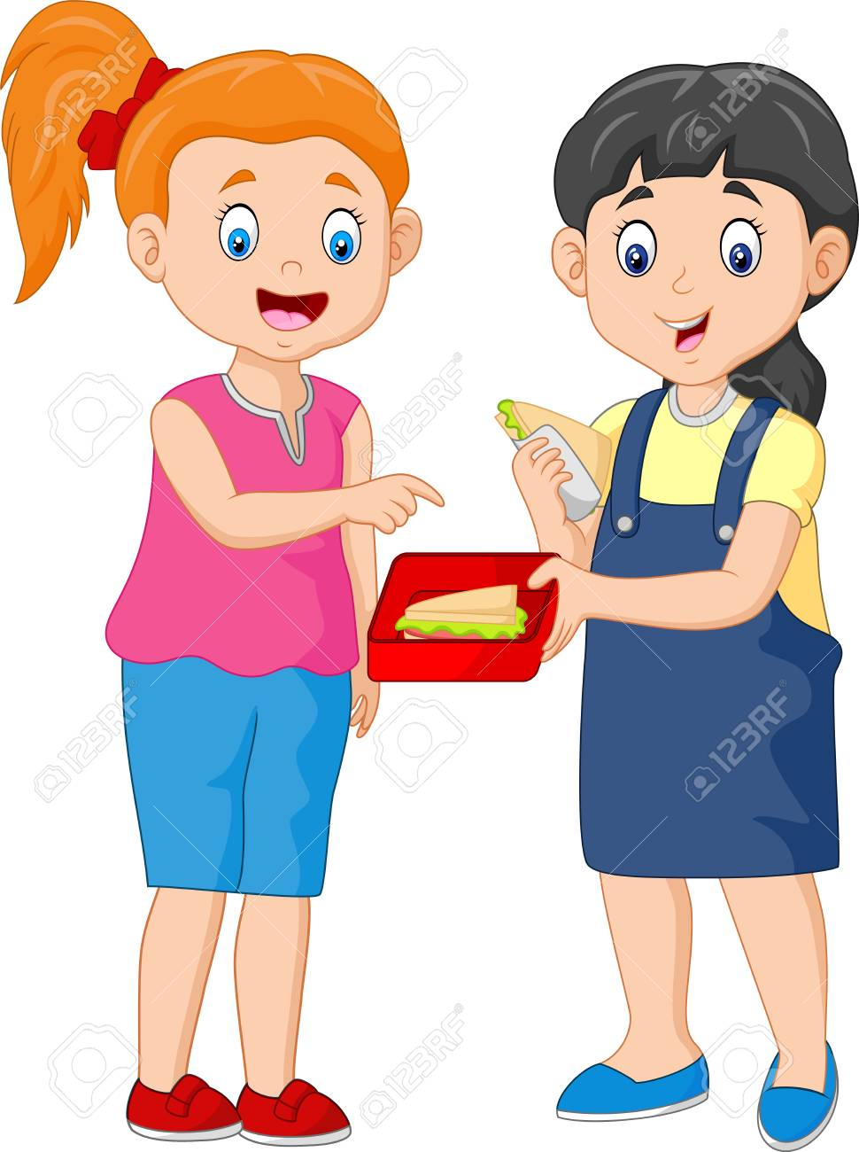 Cute Girl Sharing Sandwich with a Friend.