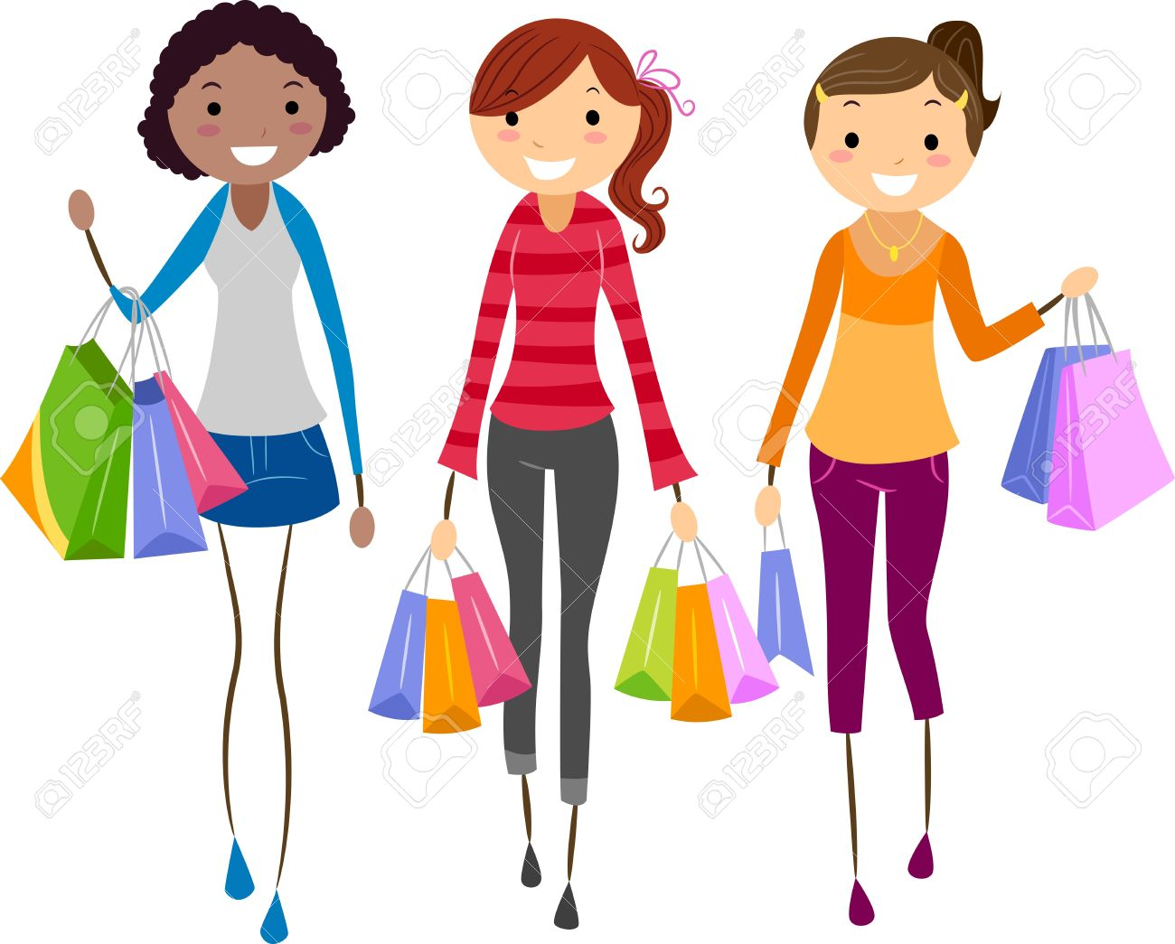 Illustration Of Girls Shopping Together Stock Photo, Picture And.