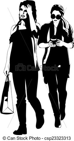 Vector Clip Art of Two Female Friends Shopping Vector.