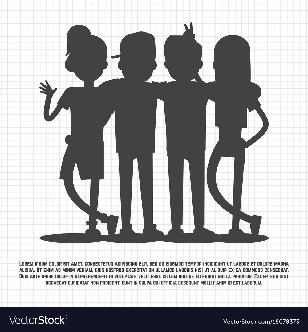 Teenagers friends silhouettes on notebook page.