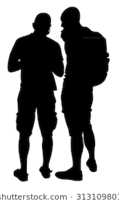 Download Free png Silhouette of two friends.