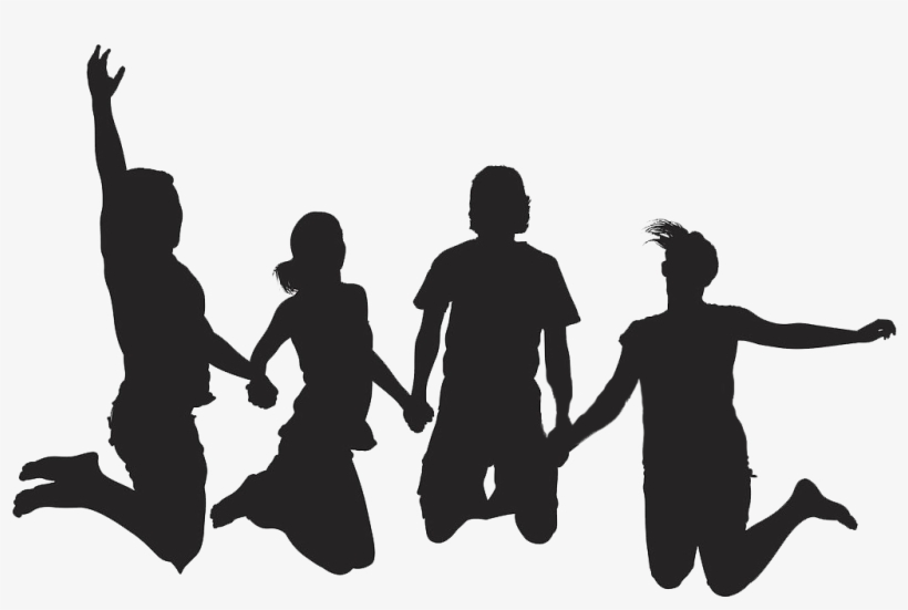 Silhouette Friends Holding Hands PNG Image.