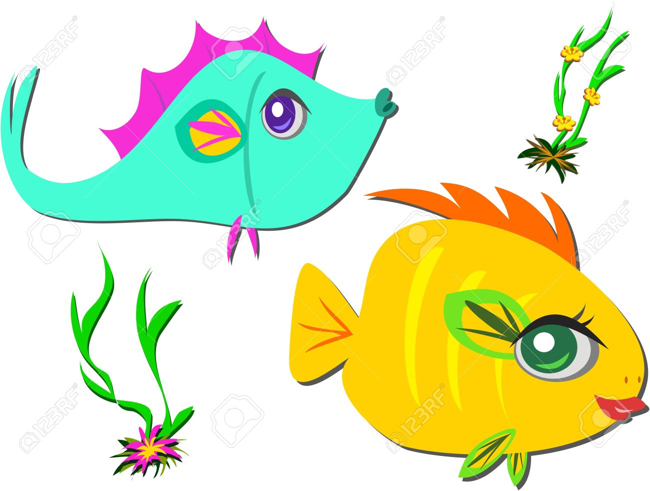Two Fish Friends Swimming Royalty Free Cliparts, Vectors, And.
