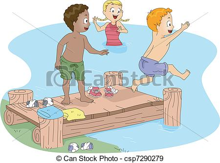 Vector Clipart of Kids Swimming.