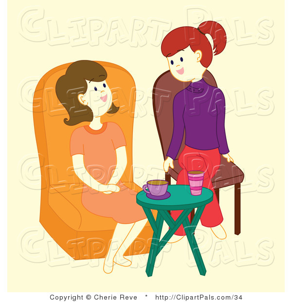 Pal Vector Clipart of Friends Talking by Cherie Reve.