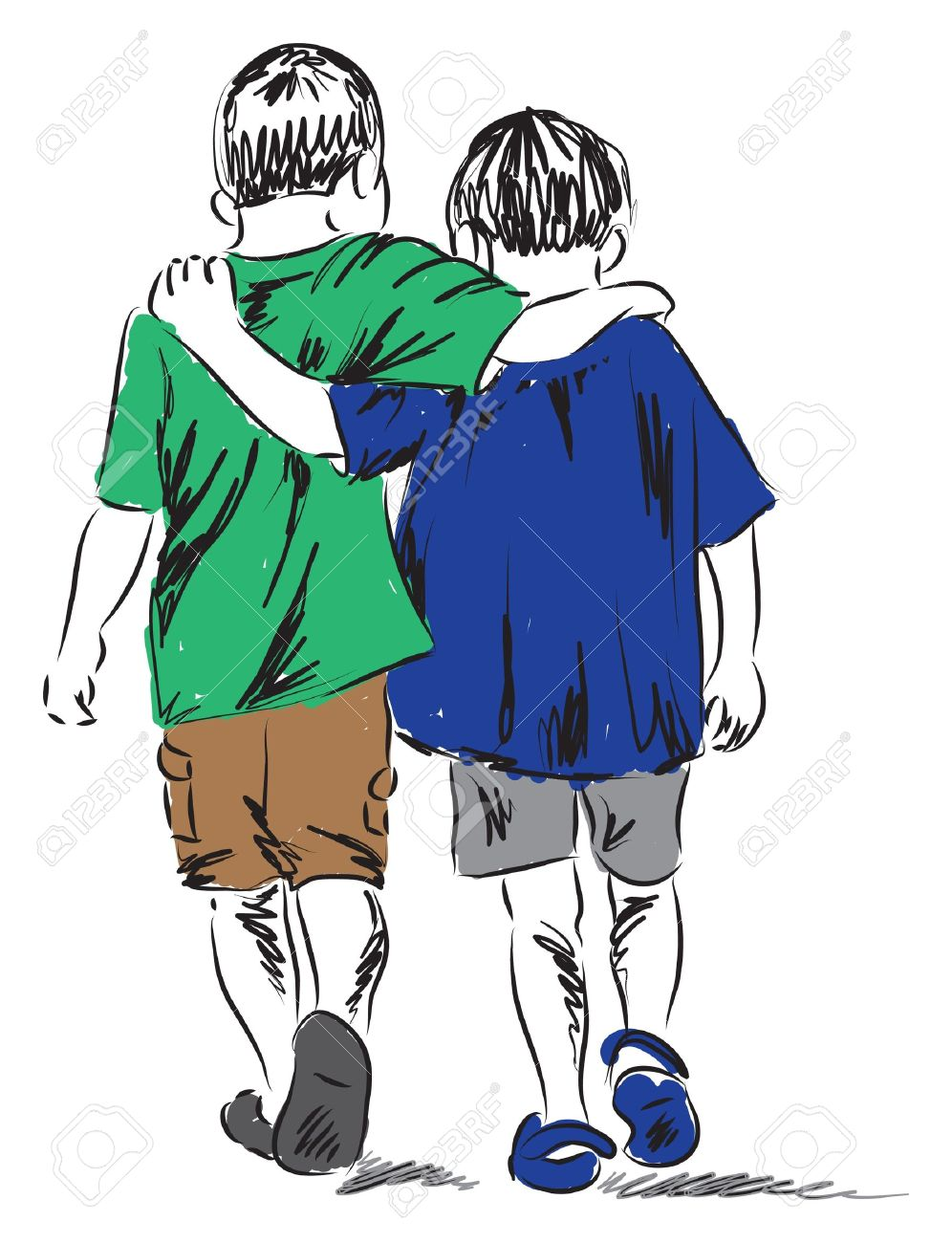 Friends Two Boys Walking Together Illustration Royalty Free.