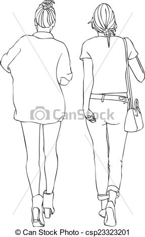Vector Clipart of Stylish Female Friends Walking.