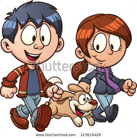 Cartoon couple walking dog.