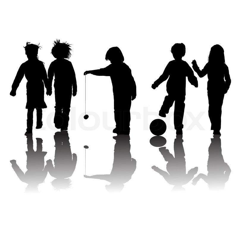 School kids friends silhouettes, girls and boys over white.