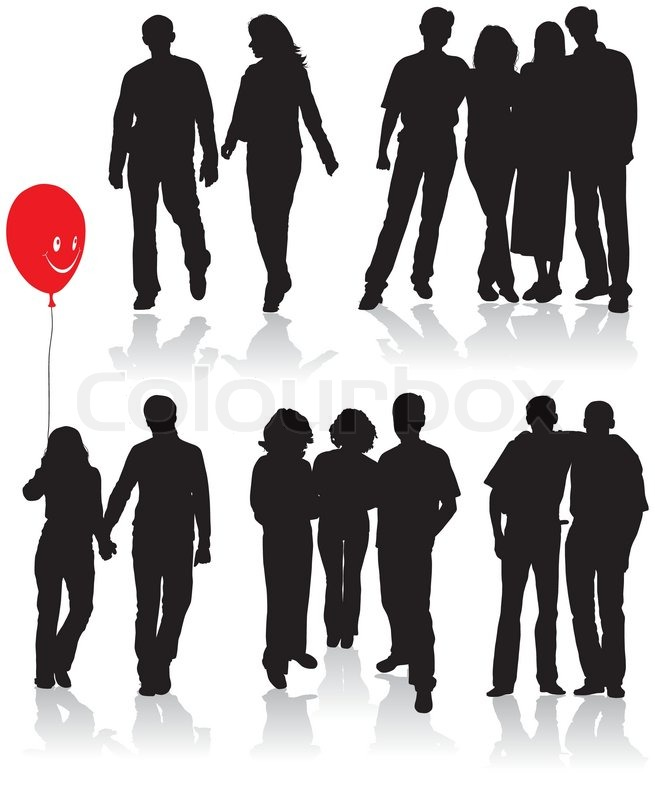 Vector silhouettes friends (man and women), illustration.