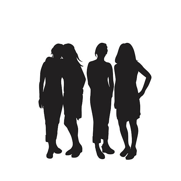 Silhouette Of The Friendship Hug Clip Art, Vector Images.