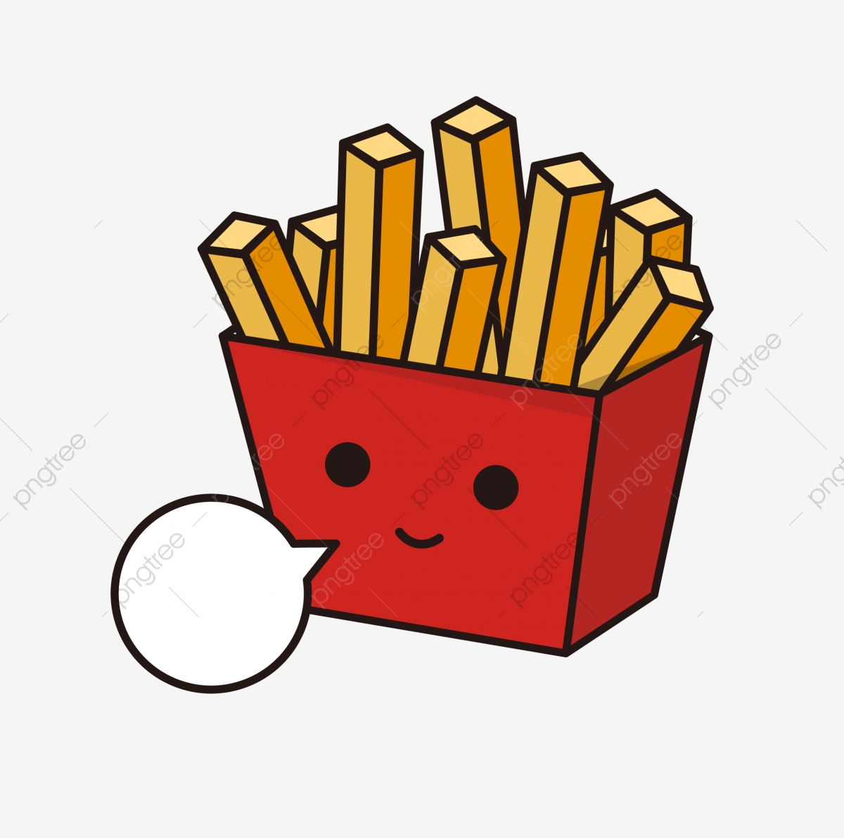 Cute French Fries Elements In Cartoon Style, Food, Delicious, Food.