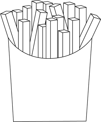Black and White French Fries Clip Art.