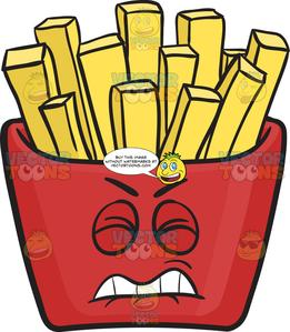 Disgruntled Red Pack Of French Fries Emoji.
