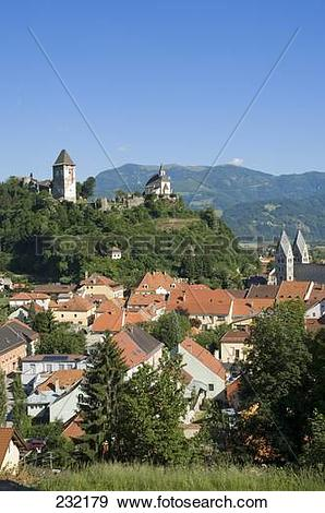 Stock Photograph of High angle view of buildings in town, Friesach.