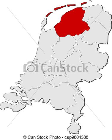 Vector of Map of Netherlands, Friesland highlighted.