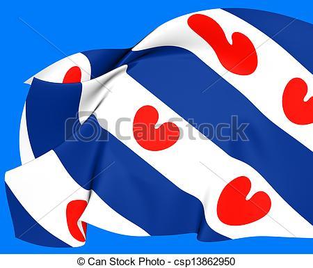 Stock Illustrations of Flag of Friesland, Netherlands. Close Up.