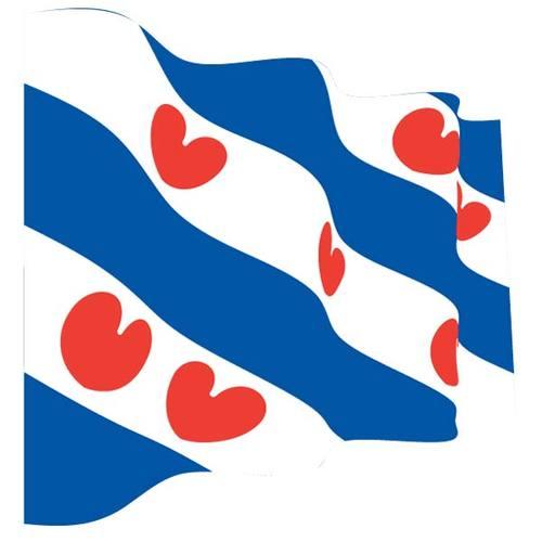 Wavy flag of Friesland.