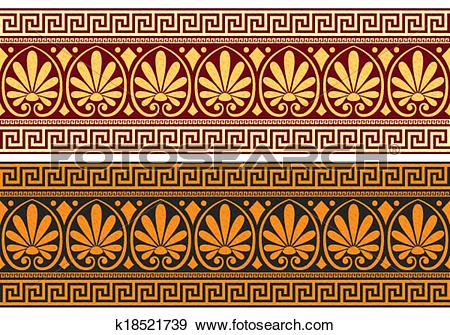 Clip Art of vector frieze with Greek ornament k18521739.