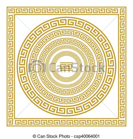 Vector Clipart of Vector set frieze with vintage golden Greek.