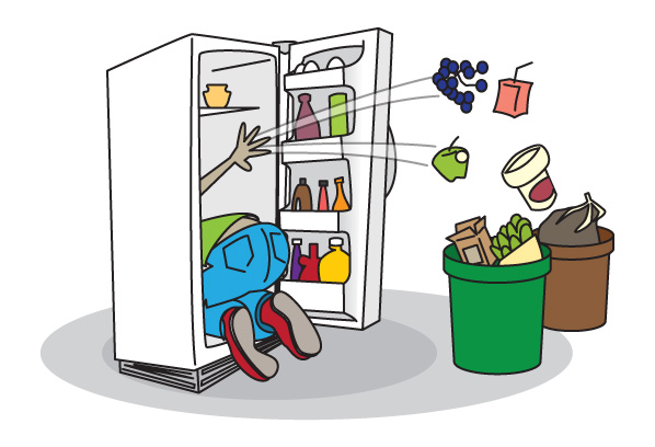 Cleaning out refrigerator clipart.