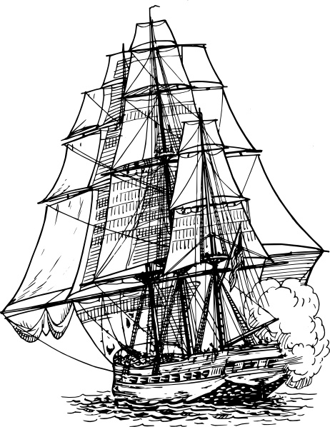 Frigate Ship clip art Free vector in Open office drawing svg.