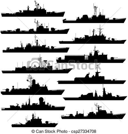 Vector Clipart of Frigates and corvettes.