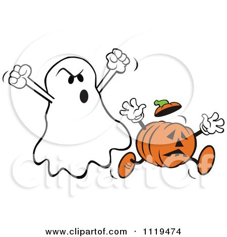 Cartoon Of A Halloween Jackolantern Jumping To Frighten.