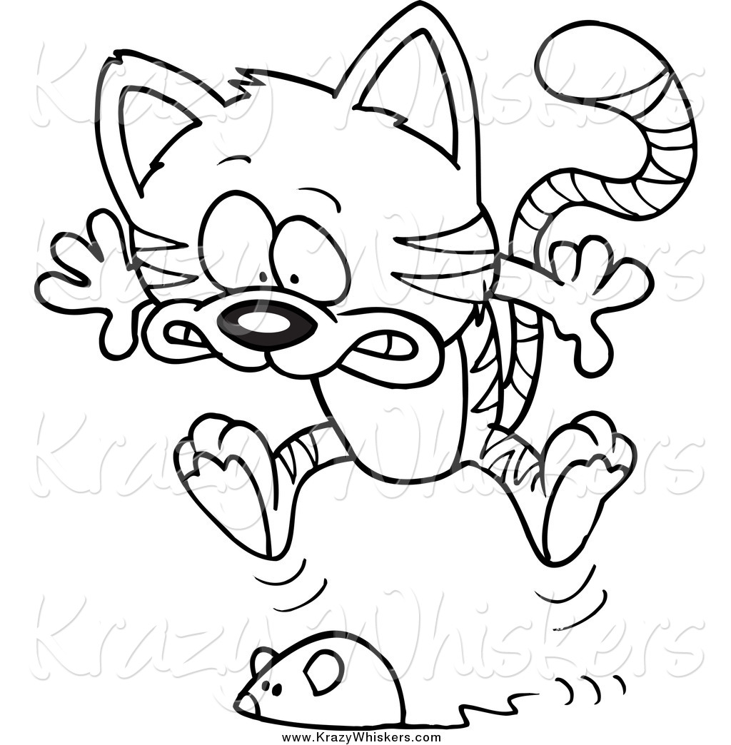 Critter Clipart of a Black and White Toy Mouse Frightening a Tabby.
