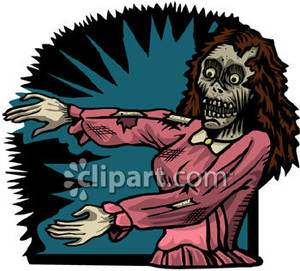 Frightening Zombie Woman Royalty Free Clipart Picture.