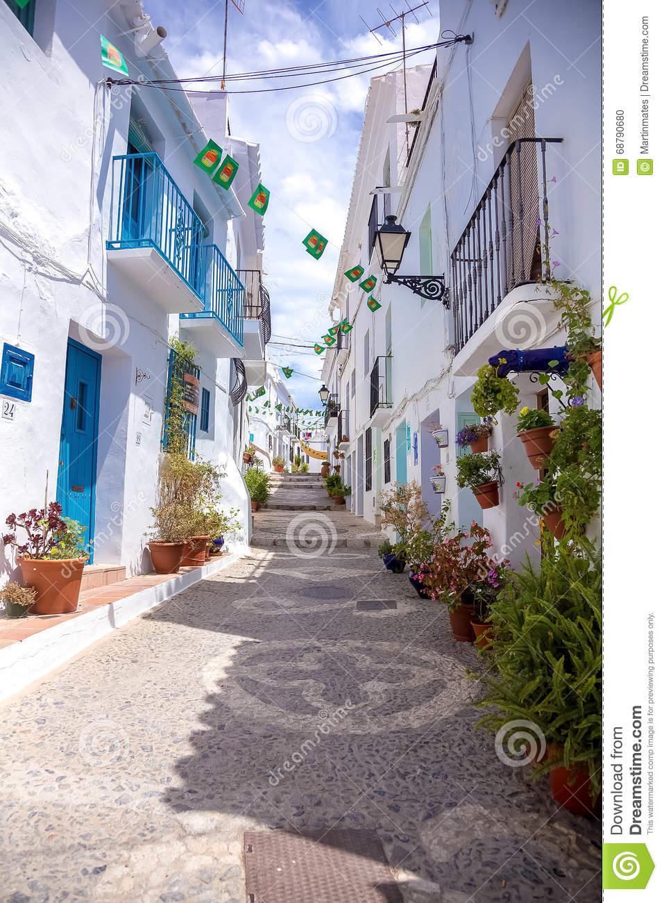 Frigiliana Blue Street Stock Photo.