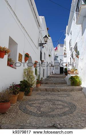 Picture of Village street, Frigiliana, Spain. k9379817.