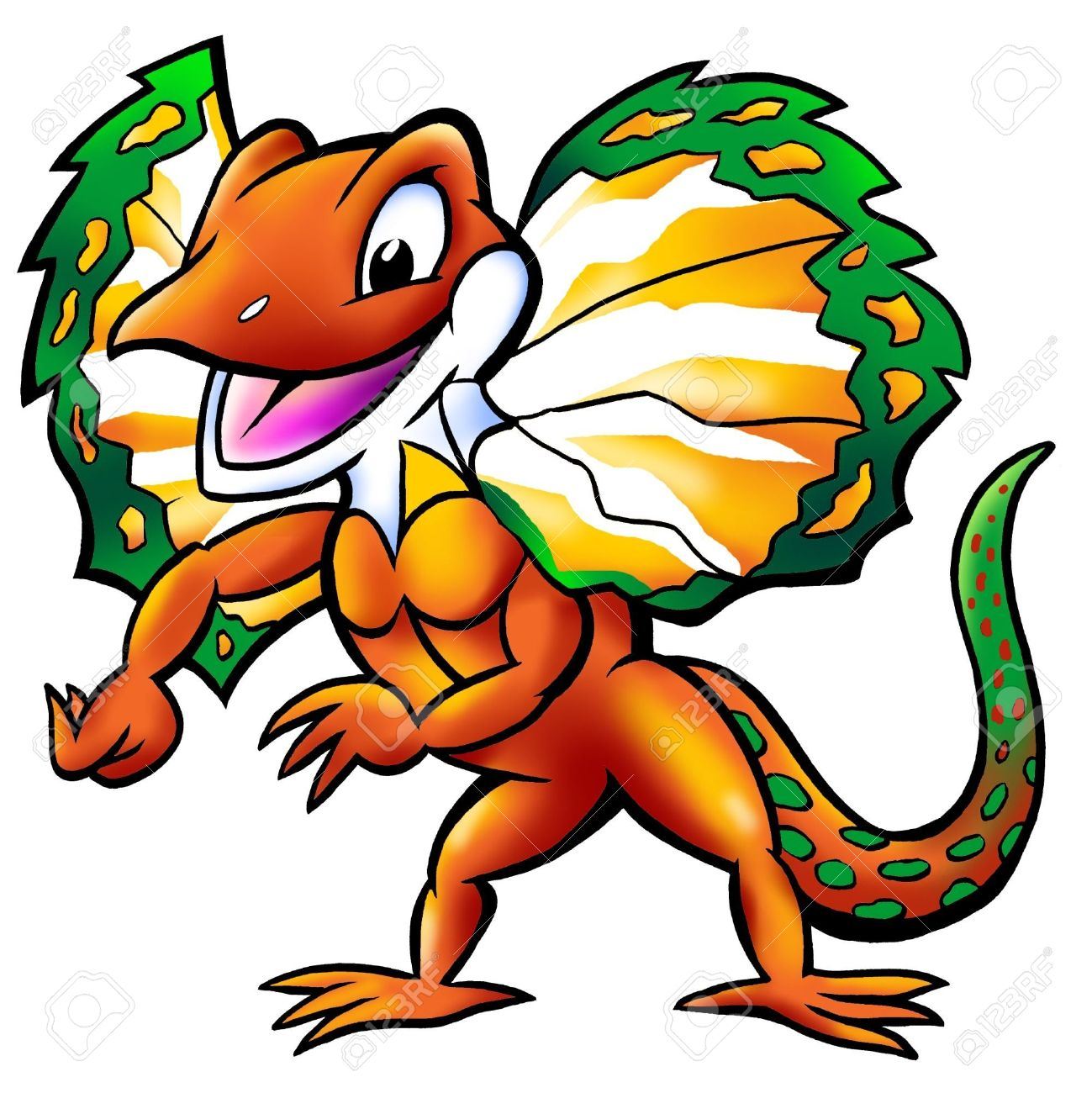 Happy Frilled Lizard Mascot Stock Photo, Picture And Royalty Free.