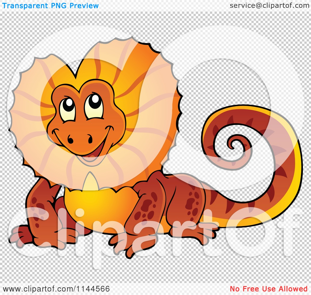 Cartoon of a Cute Orange Aussie Frilled Lizard.