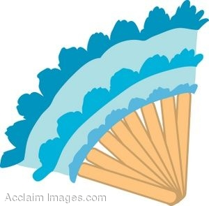 Clip Art of a Lacy Blue Fan.