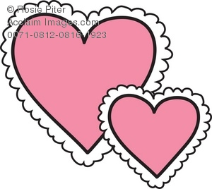 Royalty Free Clipart Illustration of Frilly Pink Hearts.