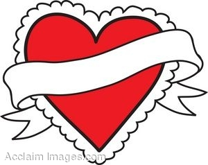 Clip Art Picture of a Frilly Red Heart With a Banner.