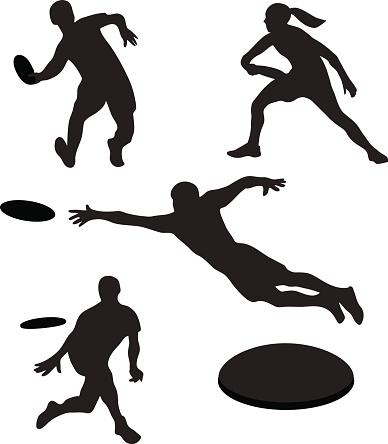 Playing Ultimate Frisbee Clip Art.