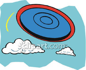 Frisbee Flying Through the Air Royalty Free Clipart Picture.